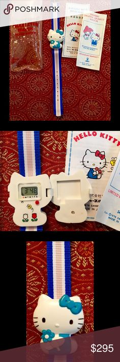 Hello Kitty Sanrio Vintage Wrist Watch This is a vintage hello Kitty Sanrio wrist watch. Never worn. This is new old stock. I used to work for Disney about 30 years ago. I had this at my jeweler last week and had a new battery installed and it runs great. Digital mechanism. Sanrio Accessories Watches