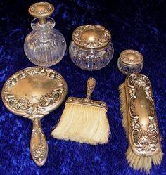 199: Victorian Sterling Silver Crystal Dresser Set 6pc