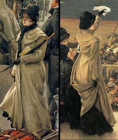 Front and back views of a traveling coat, c. 1880–81
