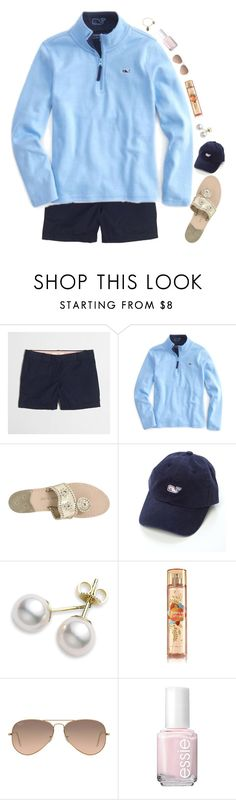 """""""today's my birthday!"""" by preppy-ginger-girl ❤ liked on Polyvore featuring J.Crew, Vineyard Vines, Jack Rogers, Mikimoto, Ray-Ban, Essie and Alex and Ani"""