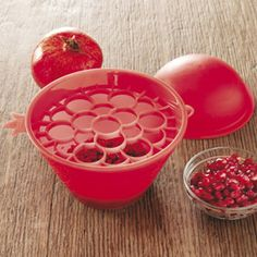 Deseed pomegranates in seconds with clever pomegranate seed remover.