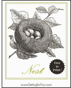 FREE Bird's Nest Printable - print and hang for instant decor! Great idea for a gallery art wall!