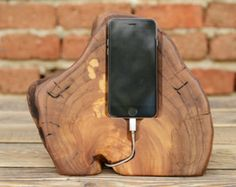 Mens Gift Wood Docking Station iPhone Charging Station