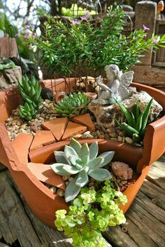 Miniature landscape in broken clay pots. So cute!!