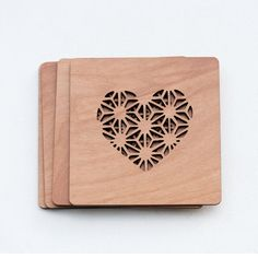 Wedding Favor - Pair of 2 Geometric Hearts Wood Coasters by StylineDesigns on Etsy https://www.etsy.com/listing/202701299/wedding-favor-pair-of-2-geometric-hearts