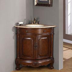 Silkroad Exclusive Single Sink 32 Inch Travertine Top Corner Sink Vanity Cabinet Travertine Top White Sink