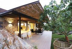 terrace roofing design braid terrace garden furniture table chairs garden nature