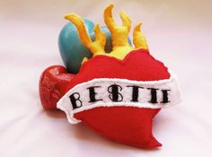 Cat Toy, Flaming Heart Cat Toy, Tattoo Heart Catnip Cat Toy, Milagro Heart, Sacred Heart Pet Toy, Besties Gift Best Friend Gift
