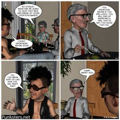 Punksters.net punk rock comic strip number 22: There's nothing like a nice family dinner with a nice family conversation.  #comic #family #marriage #dinner #humor
