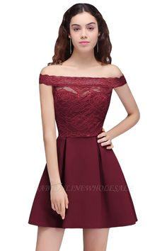 In stock cocktail dresses 2018 simple a-line boat neck lace satin women short vestidos Vintage Prom, Vintage Homecoming Dresses, Burgundy Homecoming Dresses, Prom Dresses Uk, Strapless Dress Formal, Casual Dresses, Short Dresses, Fashion Dresses, Lace Dresses