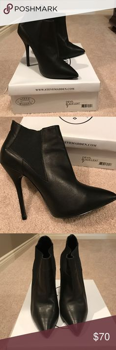 """Steve Madden Black Leather Booties Steve Madden """"Devil"""" Black Leather high heel booties. Rarely worn. 4 inch heel. Steve Madden Shoes Ankle Boots & Booties"""