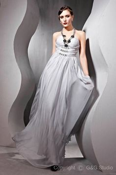 Empire Chiffon/Elastic Silk-like Sweep-Train Satin A-line Halter Zipper Sleeveless Floor-length Beading/Crystals/Draped/Ruched Silver Evening Dress