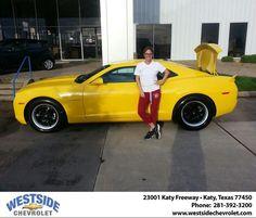 #HappyAnniversary to Margarita Gervassi on your 2013 #Chevrolet #Camaro from Kip Kaimann at Westside Chevrolet!