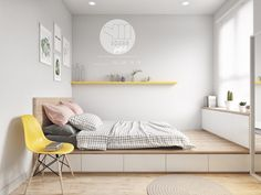 That platform bed noice. Colourful Interiors With Connection: Green, Coral, Blue & Yellow Decor