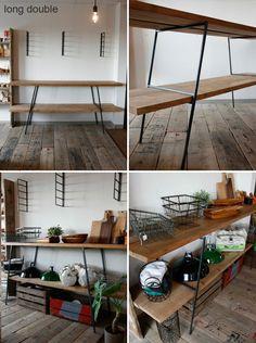 ≪鉄脚≫【flatironleg/longdouble+杉足場板セット】 Welding Projects, Diy Wood Projects, Wood Furniture, Modern Furniture, Interior Design Work, Wood Cutting, Ladder Decor, Woodworking, Iron
