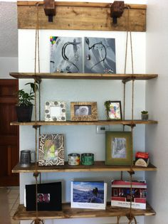 Rustic Rope and Wood Hanging Shelf by RusticRevelations on Etsy, $400.00