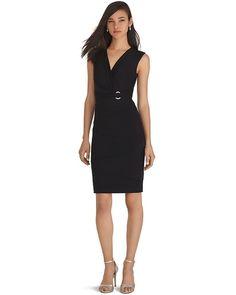 White House | Black Market Sleeveless V-Neck Surplice Black Instantly Slimming Dress #whbm