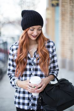 The lovely Jackie Welling rocking The Jean Girl black buffalo plaid