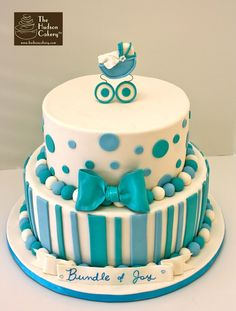 blue dots and striped baby shower cake with 3d pram