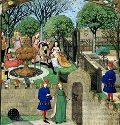 Garden of Pleasure. Guillaume de Lorris and Jean de Meun  Title: Roman de la Rose. Origin Netherlands, S. (Bruges)  Date: c. XV.