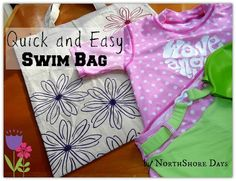 Quick, easy stencilled bag Sewing Ideas, Sewing Projects, Diy Projects, Girls Swimming, Tote Bags, Stencils, Fabrics, Diy Crafts, Invitations
