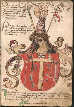 Attributed coat of arms of Jesus (arma Christi) in late 15th-century Wernigerode/Schaffhausen Armorial, c. 1475–1500.