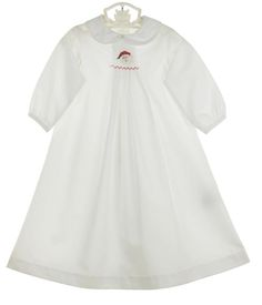 NEW Bailey Boys White Batiste Smocked Daygown with Santa Embroidery for Baby Boys $50.00