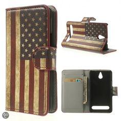 Sony Xperia E1 agenda usa vlag wallet hoesje