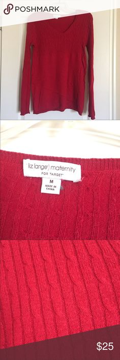 Red Maternity Sweater Soft red sweater with cable knit on the top. Perfect for the holidays! Bundle and save, lots of maternity clothes in my closet! Liz Lange for Target Sweaters V-Necks