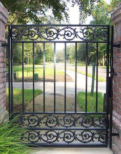 Courtyard Gate With Arbor Iron Garden Gates, Garden Fencing, Wrought Iron Fences, Wrought Iron Doors, Deck Gate, Aluminum Fabrication, Fence Doors, Custom Gates, Front Gates