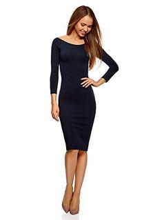 oodji Ultra Femme Robe Moulante à Col Bateau Bleu FR 44   XL Robe Moulante, 6610740f7eb4