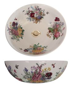 "Very petite Victorian Garden hand painted 12"" diameter vessel sink with lots of flowers and hummingbirds. https://www.decoratedbathroom.com/floral-designs/victorian-garden-fluted-drop-in-sink"