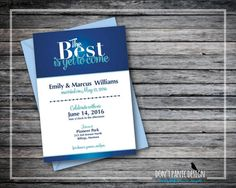Printable Wedding Announcement Invitation - The Best is Yet to Come - Wedding Reception Announcement - Blue and Turquoise  - Custom Colors