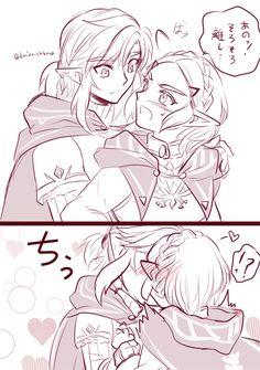Link and Zelda The Legend Of Zelda, Legend Of Zelda Breath, Link Art, Link Zelda, Cartoon Games, Breath Of The Wild, Cute Anime Couples, Anime Ships, Funny Games