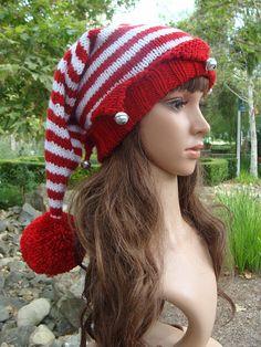 f3cc7e576f9ac DIY- Knitting PATTERN  168  Santa s Elf Knit Hat with Pom-pom Pattern