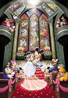 Tenyo Disney Fantasy Celebration Minnie Mickey Wedding Jigsaw Puzzle 1000 Piece * Check out this great product. Mickey Mouse Y Amigos, Minnie Y Mickey Mouse, Mickey Mouse And Friends, Disney Magic, Disney Amor, Retro Disney, Disney Love, Disney Couples, Disney Fantasy
