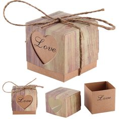 50Pcs Heart Love Rustic Sweet Laser Cut Candy Gift Boxes Wedding Party Favour #Unbranded