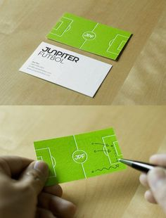 #soccer #sports business card. Clever design with soccer field on the back side