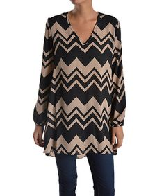 Love this Taupe Chevron V-Neck Tunic on #zulily! #zulilyfinds