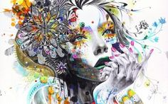 Preview wallpaper abstraction, painting, girl, paint, flowers, hand, thoughtful, rendering