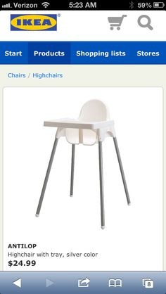 Ikea Antiplop High Chair ($25).  I worry about possible recalls on this, though. Ikea Nursery, Baby Shower Items, Shopping Lists, Silver Color, Interior Design, Chair, Inspiration, Furniture, Home Decor