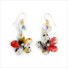 Flower earringsGoldfilled earrings  plastic Dangel by ORitDaich, $35.00