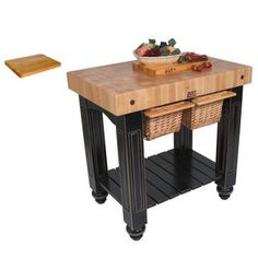 John Boos CU-GB3624-BL Black Double Basket Slide-out 36x24 Cutting Board Gathering Block Table | Overstock™ Shopping - Big Discounts on Butcher Blocks