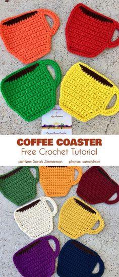 Crochet For Beginners Coffee Coaster Free Crochet Pattern These coffee-themed coasters are a great match for your after-brunch Sunday coffee, each one in a different color, so everyone knows their place ;] Easy and quick pattern, good for beginners! Crochet Kitchen, Crochet Home, Crochet Gifts, Knit Crochet, Crochet Owls, Crochet Geek, Crochet Edgings, Crochet Collar, Crochet Shirt