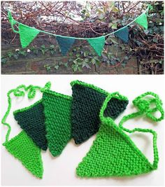 Knitted Bunting This bunting is knitted entirely in garter stitch – that's knit every row. You can knit this with any wool usi. Knitted Bunting, Christmas Wreaths, Christmas Cards, Bottle Top, Mini Bottles, Garter Stitch, Red Poppies, Pin Cushions, Crochet Bikini
