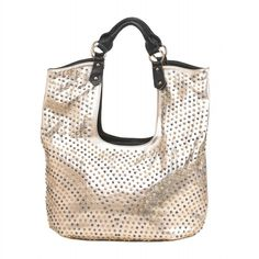 Hollywood Golden Tote - The sun-kissed metallic shine of this bag will make all your stylish dreams come true! You can fit all your essentials in this oversize tote, and with its studded design and shimmering leatherette construction, youll look like a superstar with this on your shoulder. Product Number: 10016126 $99.95 USD