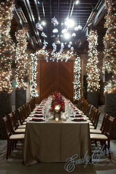 Napa, California Wedding Reception Tables | Emily Clarke Events #destinationwedding #christmaslights
