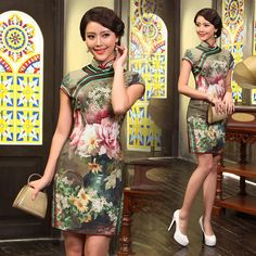 Shop elegant silk cheongsam, traditional Chinese red bridal dresses, sexy modernize Qipao from www.ModernQipao.com. Save 6% by share our products. Oil painting floral silk neutral green Chinese mandarin collar dress