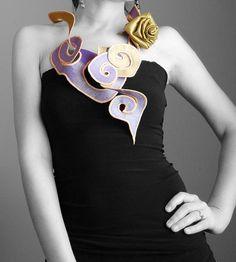 Textile Necklace Pastel Fashion Statement by magdamagdaFashion