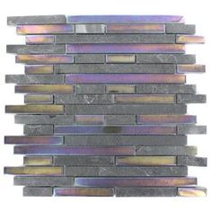 Splashback Glass Tile Tectonic Harmony Black Slate And Rainbow Black 12 in. x 12 in. Glass Mosaic Floor and Wall Tile